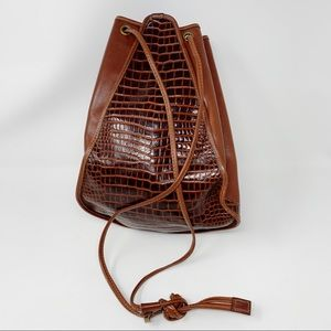 VTG Embossed Leather Bucket Bag